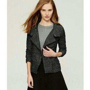 LOFT Black Marled Tweed Knit Moto Jacket Sweater